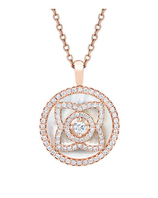 De Beers - Metallic Rose Gold And Mother Of Pearl Enchanted Lotus Pendant - Lyst