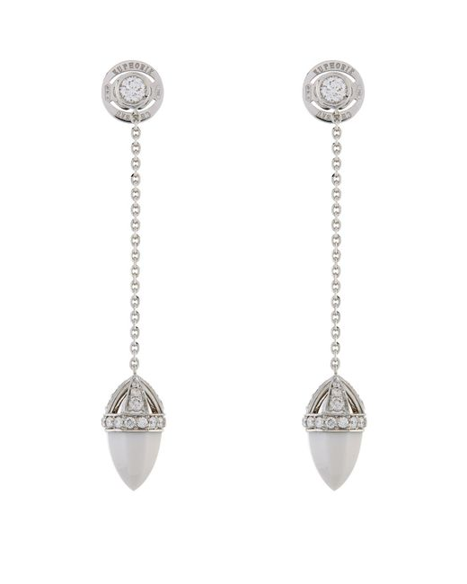 Chateau Euphorie | White Clara Kogolong And Diamond Drop Earrings | Lyst