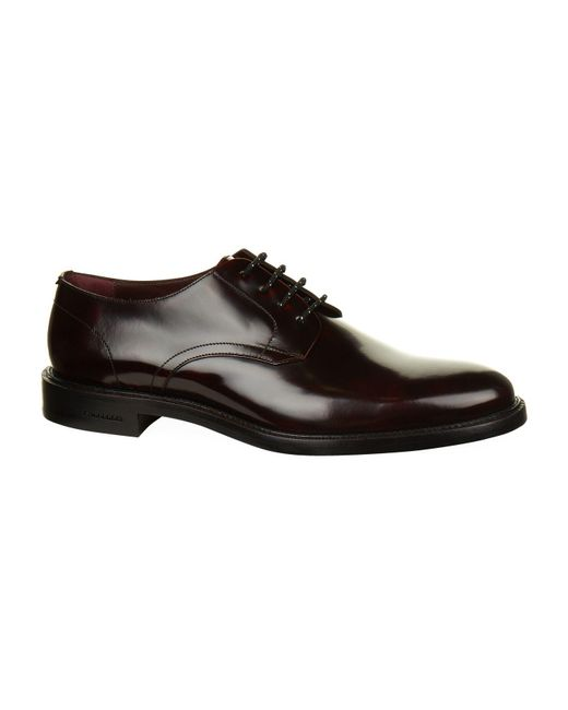 Burberry | Red Polished Leather Derby Shoes for Men | Lyst