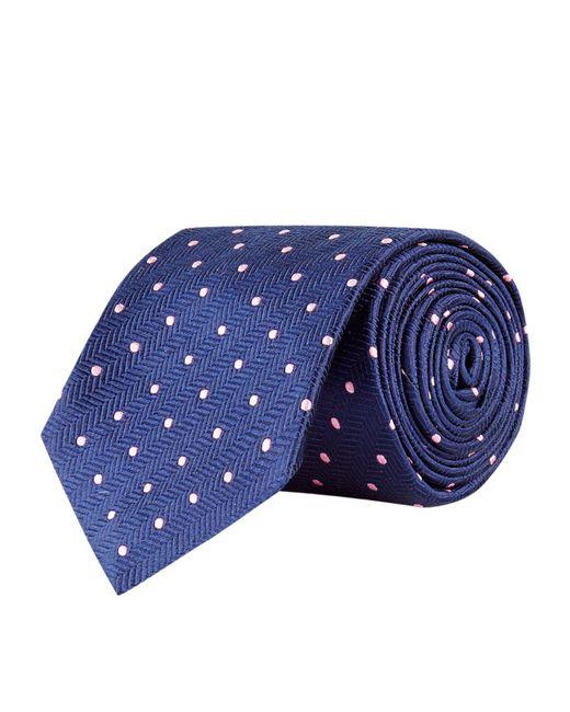 Turnbull & Asser - Blue Herringbone Polka Dot Silk Tie for Men - Lyst