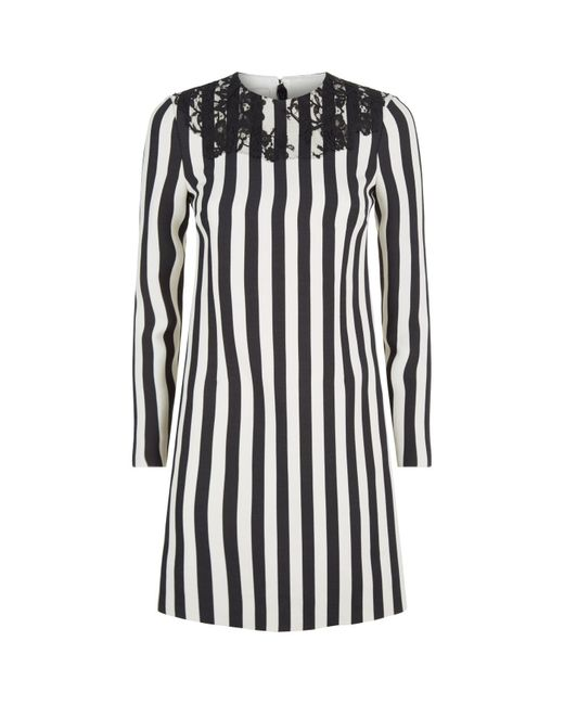 Valentino - Black Lace Striped Mini Dress - Lyst
