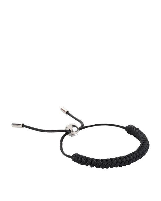 Alexander McQueen - Black Skull Braided Leather Bracelet for Men - Lyst