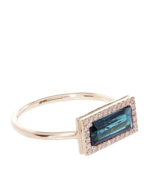 Susan Foster - Green Indicolite And Diamond Yellow Gold Ring - Lyst