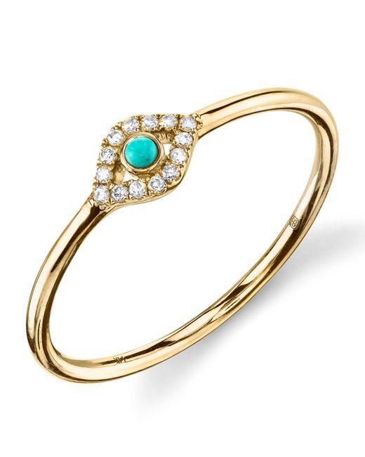 Sydney Evan   Metallic Turquoise Diamond Evil Eye Gold Ring   Lyst