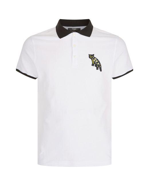 Fendi | White Jaguar Polo Shirt for Men | Lyst