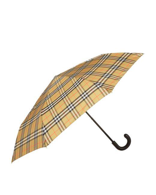 Burberry - Yellow Leather Handle Umbrella - Lyst