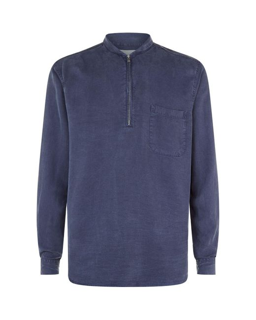 Our Legacy | Blue Half Zip Stepped Hem Shirt for Men | Lyst