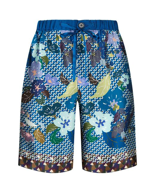 Meng | Blue Geometric Diamond Print Silk Shorts for Men | Lyst