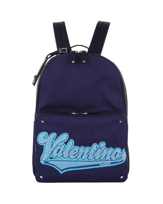 Valentino   Blue Logo Canvasbackpack for Men   Lyst