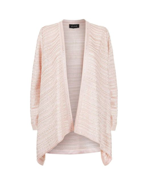 St. John | Pink Welted Sequin Knit Cardigan | Lyst