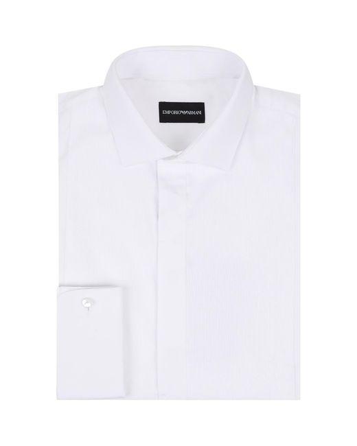 Emporio Armani - White Stripe Bib Cotton Shirt for Men - Lyst