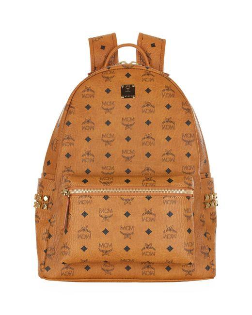 MCM | Brown Stark Side Stud Medium Backpack for Men | Lyst