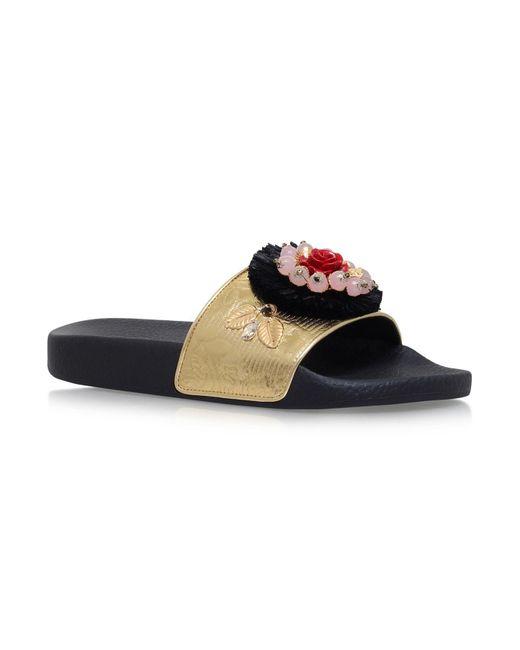 Dolce & Gabbana | Metallic Embellished Pool Slides | Lyst