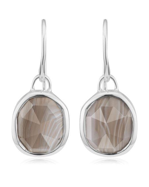 Monica Vinader   Metallic Siren Grey Agate Wire Earrings   Lyst