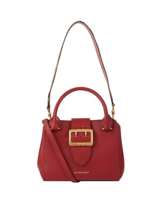 Burberry | Red Small Buckle Tote | Lyst