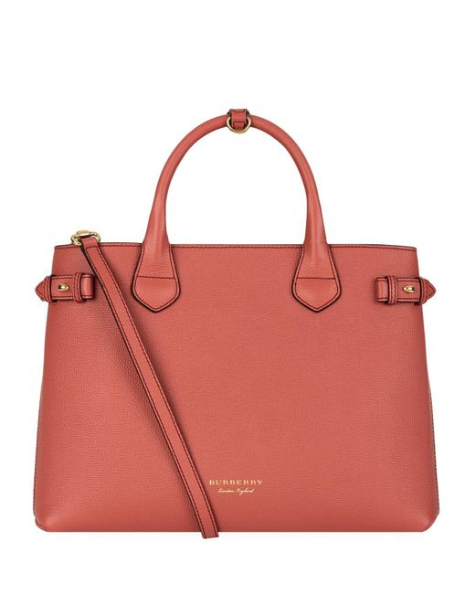 Burberry Medium Banner House Check Detail Bag in Red  fe6f24b52f9b2