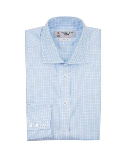Turnbull & Asser   Blue Mini Houndstooth Stripe Slim Fit Shirt for Men   Lyst