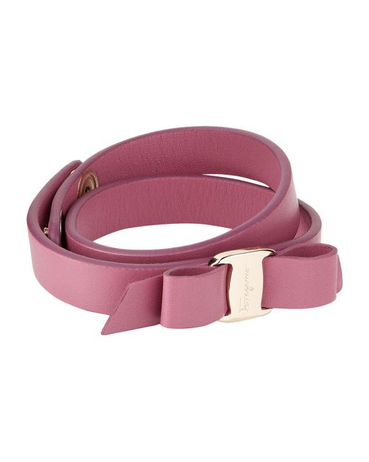 Ferragamo | Red Vara Bow Double Wrap Bracelet | Lyst