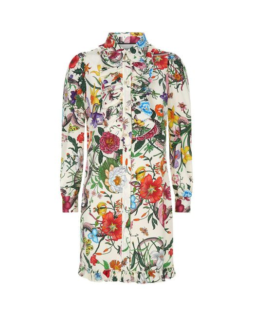 Gucci | White Floral Snake Print Shirt Dress | Lyst