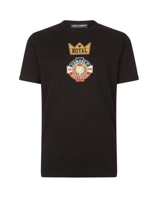 Dolce & Gabbana - Black Royal Printed T-shirt for Men - Lyst