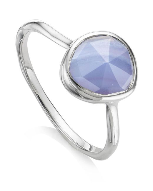 Monica Vinader | Metallic Siren Blue Lace Agate Stacking Ring | Lyst