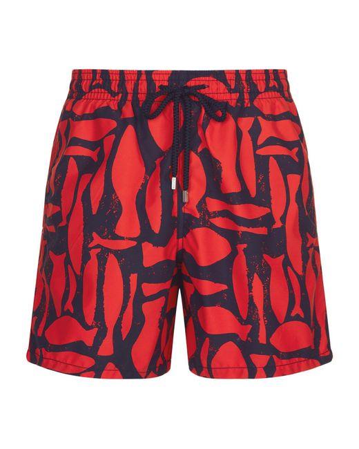 Vilebrequin - Red Moorea Fish Print Swim Shorts for Men - Lyst