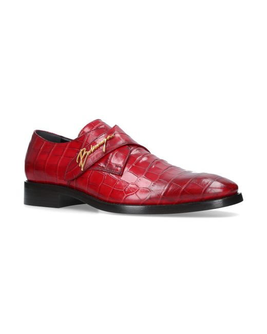 fe995ca2452e Balenciaga Croc Embossed Monk Shoes in Red for Men - Lyst
