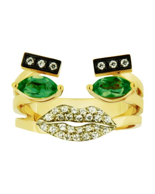 Delfina Delettrez - Green Emerald Portrait Ring - Lyst