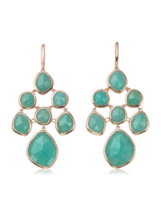 Monica Vinader - Metallic Siren Amazonite Chandelier Earrings, Gold - Lyst