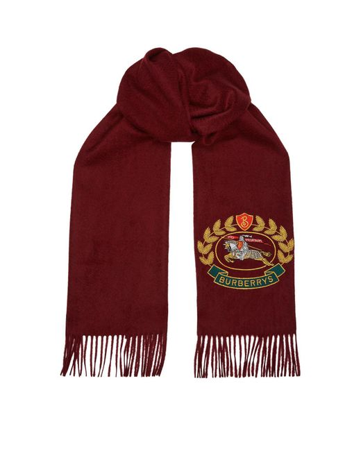 Burberry - Embroidered Crest Scarf for Men - Lyst
