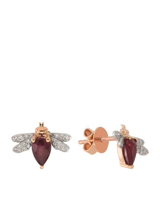 Bee Goddess - Red Queen Bee Ruby Earring - Lyst