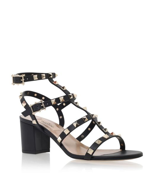 Valentino - Black Rockstud Leather 60mm Sandals - Lyst
