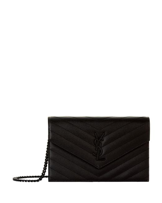 Saint Laurent Black Monogram Envelope Chain Wallet