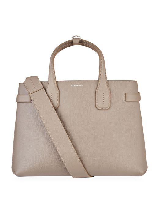93d536094381 Lyst - Burberry Medium Leather Banner Bag in Natural