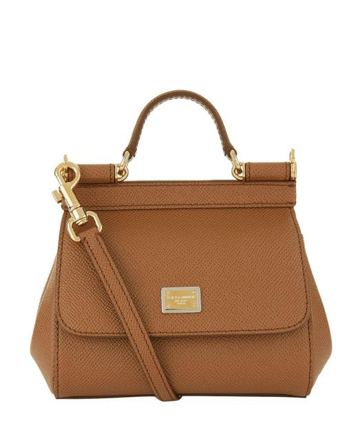 a37e34cec9e8 Dolce   Gabbana Micro Sicily Top Handle Bag in Brown - Lyst