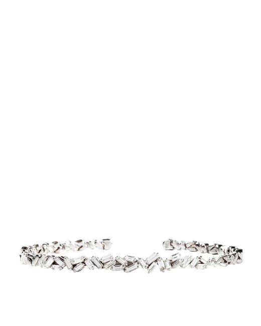 Suzanne Kalan - White Gold Diamond Bangle - Lyst