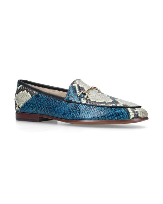 Sam Edelman - Blue Leather Snakeskin-embossed Loraine Loafers - Lyst