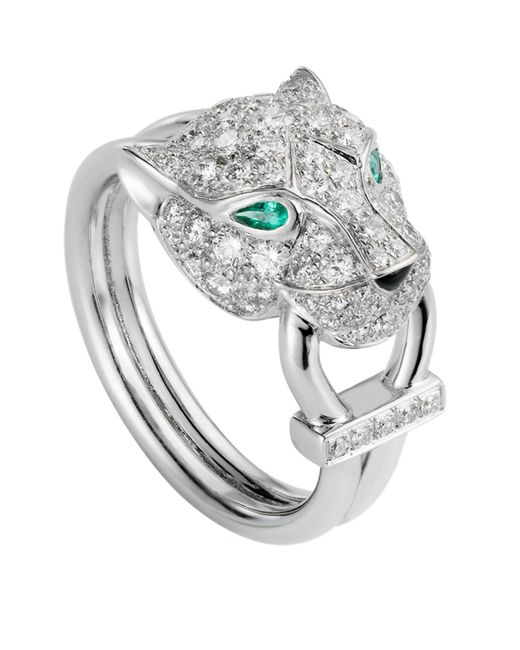 Cartier - Metallic White Gold And Diamond Panthre De Ring - Lyst