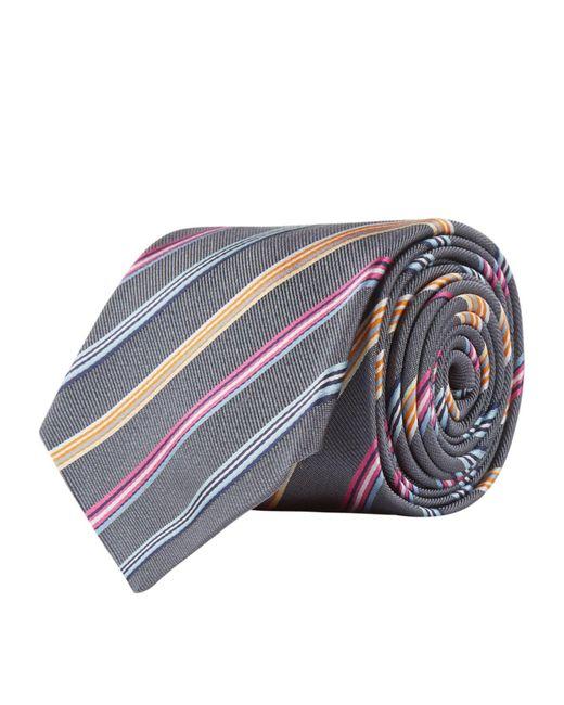 Paul Smith - Metallic Striped Silk Tie, Silver, One Size for Men - Lyst