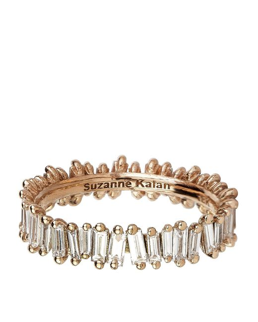 Suzanne Kalan - White Rose Gold Baguette Diamond Ring - Lyst