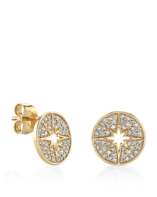 Sydney Evan - White Yellow Gold Mini Starburst Stud Earrings - Lyst