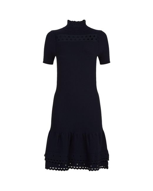 Sandro | Blue Laser-cut Knitted Dress | Lyst