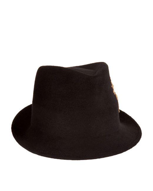 Philip Treacy - Metallic Unicorn Embroidered Velour Trilby Hat - Lyst