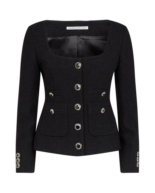 Alessandra Rich Black Tweed Scoop-neck Jacket