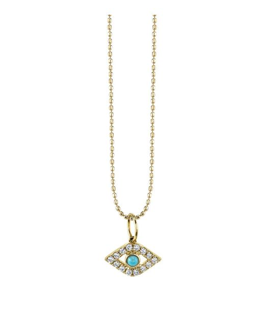 Sydney Evan | Orange Turquoise And Diamond Large Bezel Evil Eye Necklace | Lyst