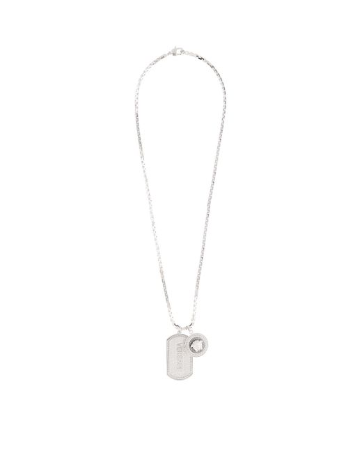 Versace - Metallic Medusa Tag Necklace - Lyst