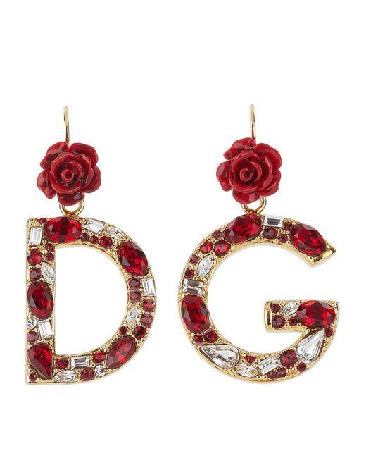 Dolce & Gabbana - Red Logo Pendant Earrings - Lyst