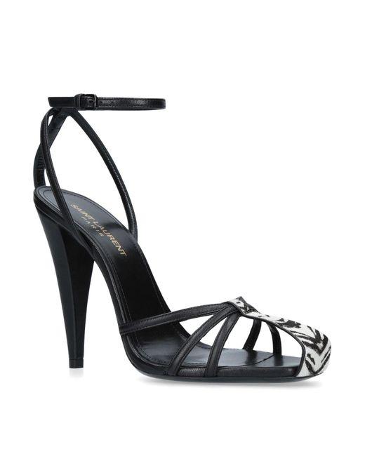 Saint Laurent - Black Leather Era Sandals 110 - Lyst