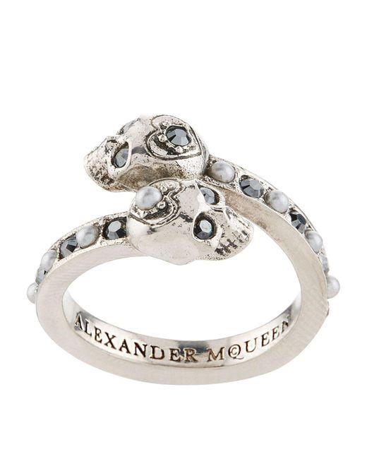 Alexander McQueen   Metallic Crystal Twin Skull Ring   Lyst