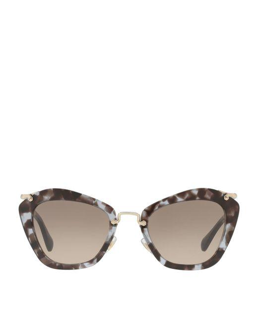Miu Miu - Brown Tortoiseshell Irregular Sunglasses - Lyst